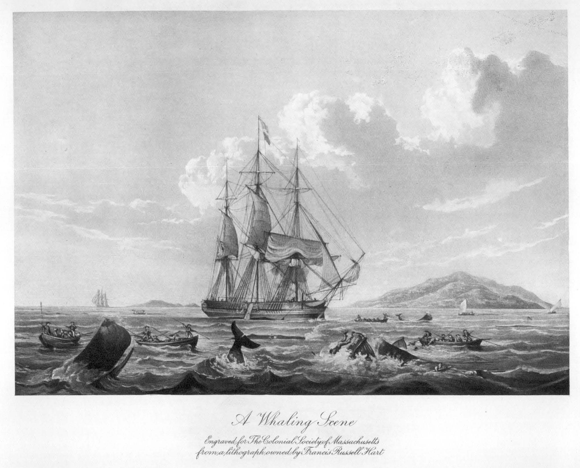 Whalers in action wood engraving published in 1855 stock illustration - In April 1771 Two Nantucket Whaling Vessels Were At Anchor In The Roadstead Of Abaco A Ship With Distress Signals Flying Was Sighted Off The Port And The
