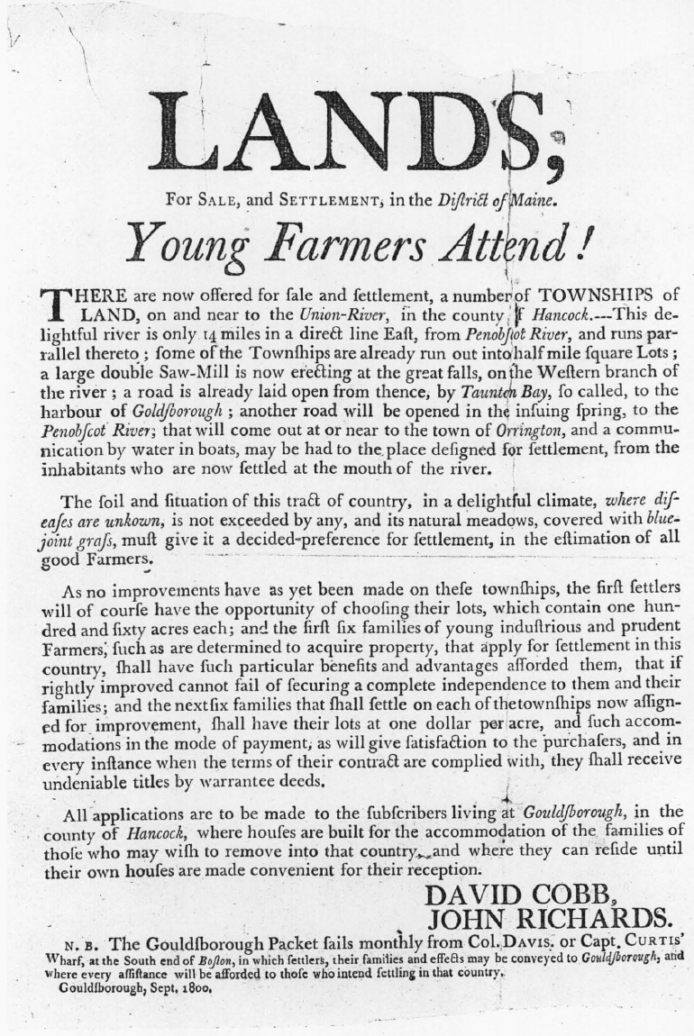 Chapter xiv 1800 colonial society of massachusetts a handbill used by cobb and richards in one of their many attempts to promote a boom in maine lands 1betcityfo Images