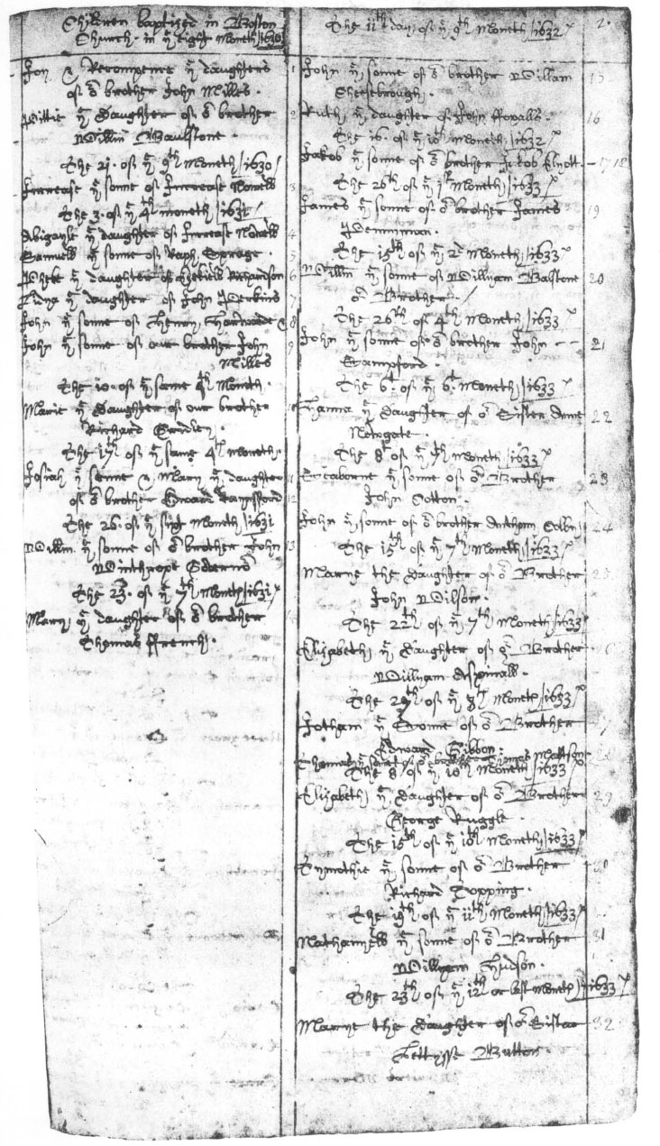 Records Of The First Church In Boston Volume I Colonial Society