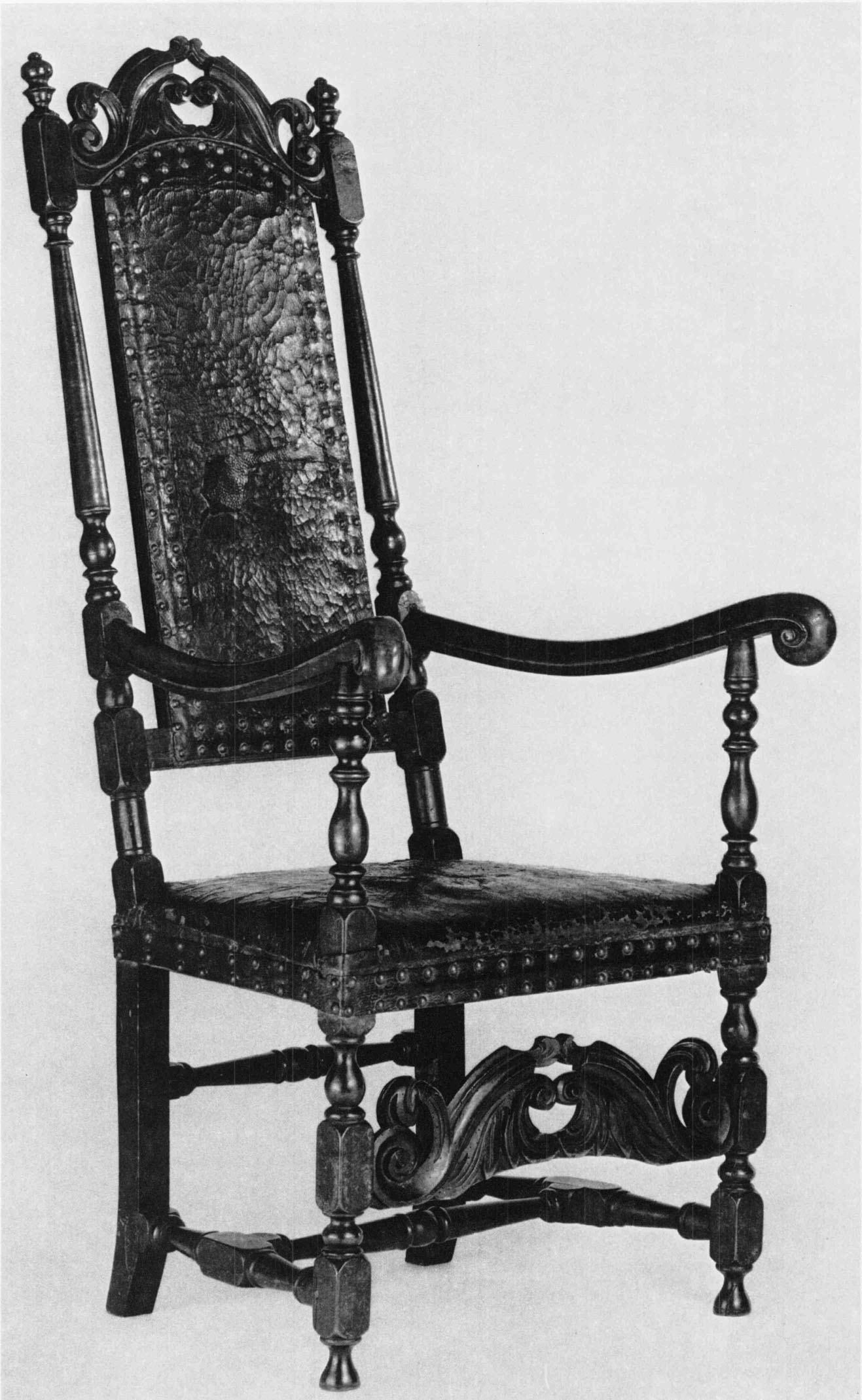 Maple, Red Oak, And Russian Leather (original); H. 35⅛ Inches, W. 24  Inches, D. 27½ Inches. (The Henry Francis Du Pont Winterthur Museum.) Chairs  Covered ...
