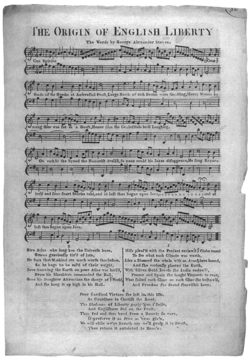 A Single Sheet Folio Song London Ca 1760