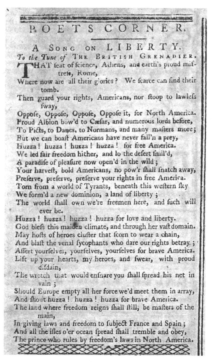 A Song Text Attributed To Joseph Warren From The Massachusetts Spy May 26 1774
