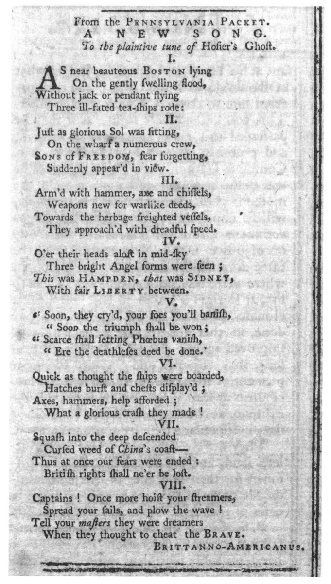 A Song Text From The Massachusetts Spy January 27 1774