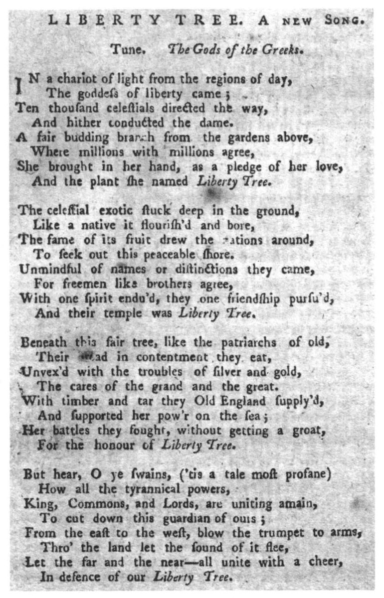 A Song Text By Thomas Paine From The Massachusetts Spy September 6 1775