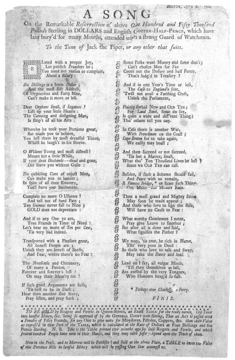 Broadsides and Their Music in Colonial America - Colonial Society of