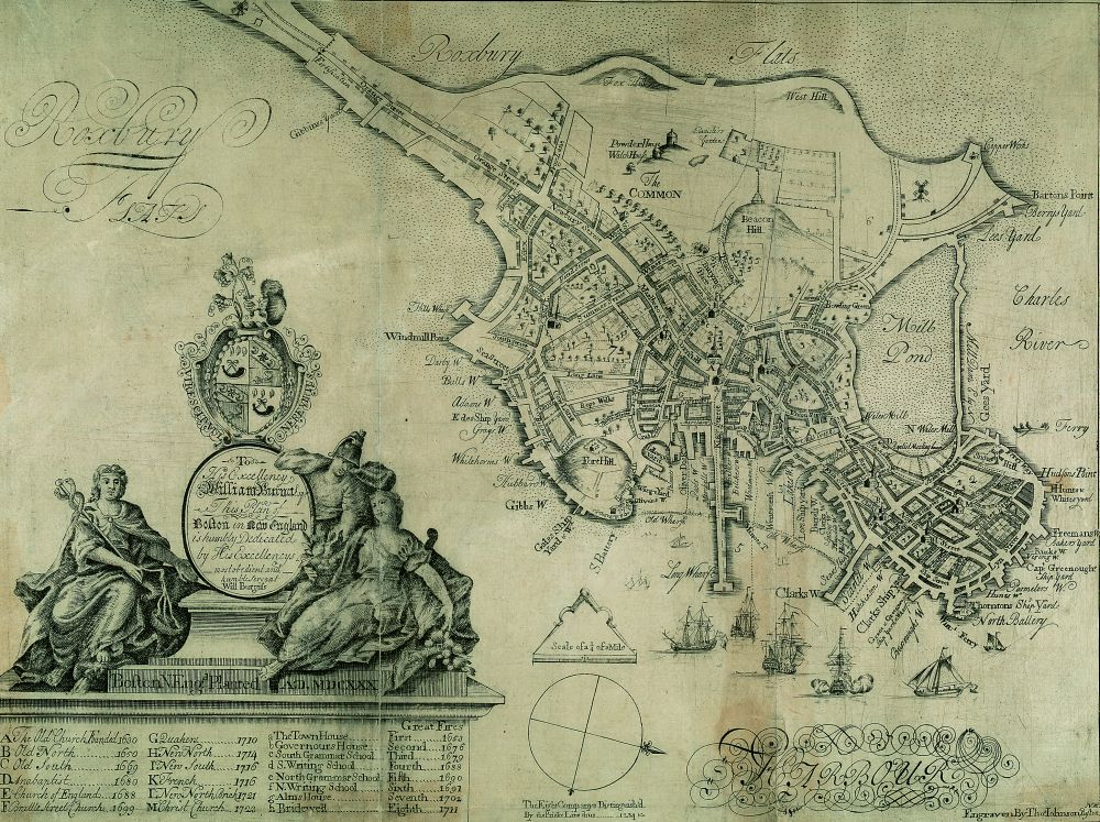 Fig 5 William Burgis To His Excellency William Burnet Esqr This Plan Of Boston In New England Boston Sold At The Crown Coffee House 1728 Detail