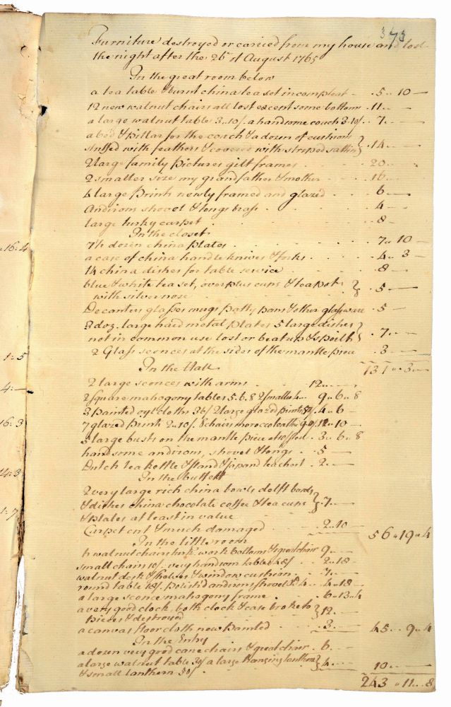 The Opening Page Of Hutchinsons Inventory Items Destroyed Or Taken From His Garden Court Street Home During Stamp Act Riot 26 August 1765