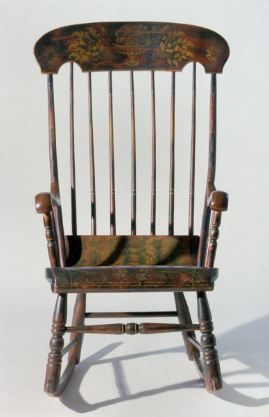 Boston Style Rocking Chair With Scroll Seat, Eastern Massachusetts,  1840u201355. Woods And Dimensions Not Recorded. Present Location Unknown.
