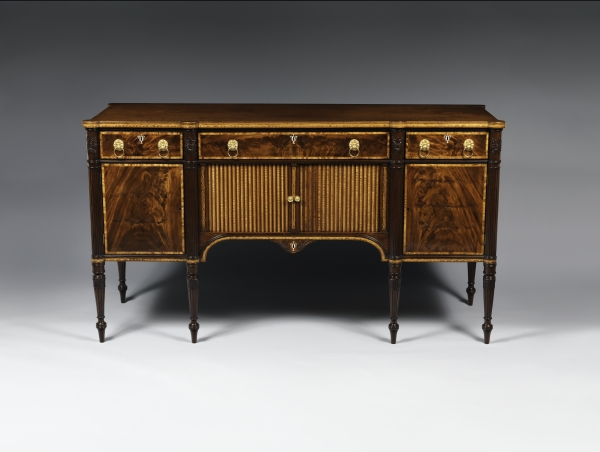 Sideboard, attributed to Thomas Seymour, Boston, 1810–15. Mahogany,  mahogany and curly maple veneers, birch, holly, soft maple, white pine,  cherry; h 41⅞, ... - Benjamin Bass And Boston Sideboards: A Question Of Attribution