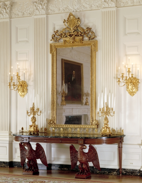 Console table in the White House State Dining Room  designed by Francis H   Bacon  made by A  H  Davenport Co   Boston  1902  Mahogany  h 44   w 120. John Ellis and A  H  Davenport  Furniture Manufacturing in East